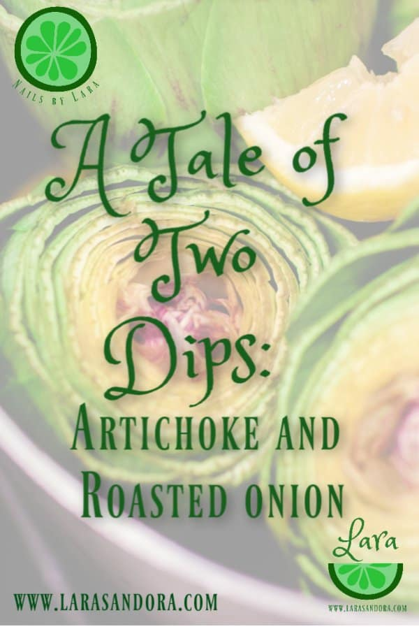 two dips, artichoke and roasted onion
